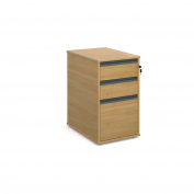 DAMS 3 Drawer Desk End Pedestal, Wood, Oak