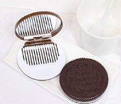 Zhichengbosi Pack of 2 Mini Pocket Chocolate Cookie Compact Mirror with Comb