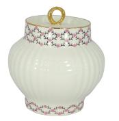 Lomonosov Porcelain Bone China Pink Net Sugar Bowl shape Wave 13.9 oz/390 ml