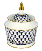 Lomonosov Porcelain Sugar Bowl Yulia Cobalt Net 10.5 oz/310 ml