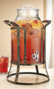 Classic Beverage Panel Drink Dispenser Durable Glass 11.4l with Spigot in Metal Caddy