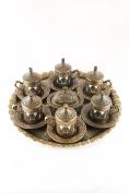 Traditional Design Brass Cast Turkish Coffee Espresso Set for Six