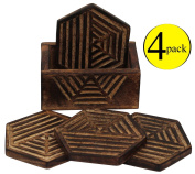 Sale Items - Coasters and Holder Pack of 4 - Coaster Set 12.7 Centimetre - Wooden INDIAN Vintage Wine Beer Coaster for Drinks / Glasses / Mugs / Canes - DECORATIONS items for Table / Kitchen by SouvNear