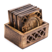 Rusticity Wood Coaster Set of 6 with Holder for beer and other drinks - antique design | Handmade |