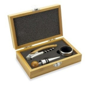 Wine Essentials Gift Set, with Wine Bottle Opener, Drip Collar and Bottle Stopper in Wooden Presentation Box