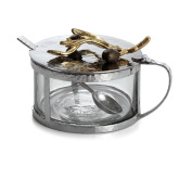 Michael Aram Olive Branch Gold Covered Condiment Container with Spoon