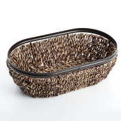 Gibson Home Sea grass and Metal Frame Basket with 33cm Oval Serving tray, Dark Brown