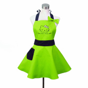 Lovely Hello Kitty Green Retro Kitchen Aprons for Woman Girl Cotton Cooking Salon Pinafore Vintage Apron Dress