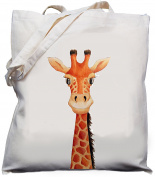 Cute Giraffe - Natural cream cotton shoulder bag