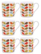 6 x Orla Kiely Ten Colour Stem Mugs