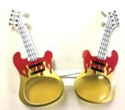 Guitar Shaped Glasses - Gold & Red