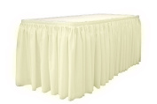 Table Set Linen-Like Table Skirting, 70cm x 4.3m, Ivory 1 piece