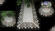 Linen Gift Set Sophisticated Floral Lace 140cm Dresser Scarf PLUS 2 Large 48cm Doilies Neutral Earth Tones European Design