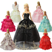 ZITA ELEMENT LOT 12= 6 Pcs Handmade Fashion Wedding Party Gown Dresses & Clothes +6 Hanger for Barbie Doll Xmas Gift