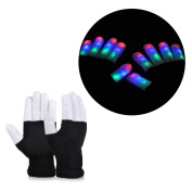Vbiger LED Gloves Party Light Show Gloves- 7 Light Flashing Modes-Lightshow Dancing Lighting Gloves for Clubbing, Rave, Birthday, Edm, Disco, and Dubstep Party