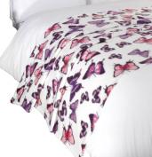 Dreamscene Butterfly Print Throw Blanket, Animal Print Bedspread, Purple