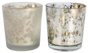 Mottled Mercury Coloured Glass Style Embossed Tealight Holder - Silver Colour Candle Holder ~ Finish Varies