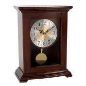 Wm. Widdop Traditional Wooden Mantel Quartz Clock Pendulum Flat Top Arabic Dial