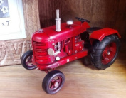 Vintage Style Red Metal Tractor - Collectable - Detailed Freestanding - Like John Deere