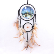 MORESAVE Handmade Wolf/Bear/Eagle Dream Catcher Wall Hanging Decoration Craft Gift
