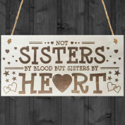 Red Ocean Sisters By Heart Shabby Chic Wooden Hanging Plaque Best Friends Gift Friend Sign