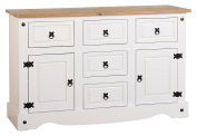 Seconique Corona 2 Door 5 Drawer Sideboard - White/Distressed Waxed Pine