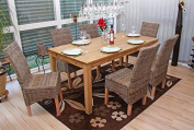 Mendler Dining Chairs M44 Rattan without Seat Cushions Set of 6