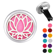 VALYRIA Stainless Steel Lotus Flower Car Air Freshener Aromatherapy Essential Oil Diffuser Locket with Vent Clip