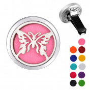 VALYRIA Stainless Steel Butterfly Car Air Freshener Aromatherapy Essential Oil Diffuser Locket with Vent Clip