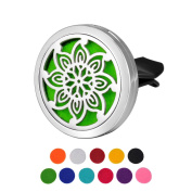 HOUSWEETY Car Air Freshener Aromatherapy Essential Oil Diffuser - Flower Stainless Steel Locket,11 Refill Pads