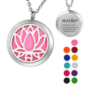 "VALYRIA Lotus Aromatherapy Essential Oil Diffuser Necklace,Stainless Steel Locket with ""mother - one who brings up a child with care+best friend"" Engraved"