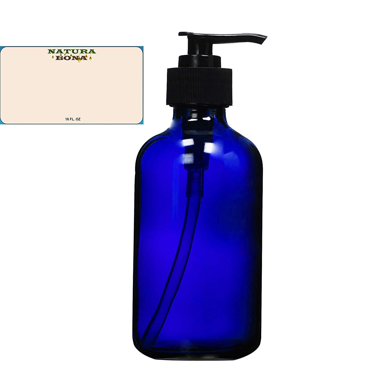 cf106aa9c92d Natura Bona Professional Glass 470ml Boston Round Bottle with BPA Free  Saddle Dispensing Pump & Label. Perfect for DIY Lotions, Soaps, Massage and  ...