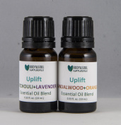 Uplift Essential Oil Duo, Patchouli+Lavender, Sandalwood+Orange Blends, 0.34 fl. oz. (10 ml.) - Total 0.7 fl. oz