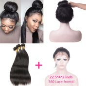 """New Style 60cm x 10cm x 2"""" 360 Lace Frontal Closure Natural Hairline with Baby Hair Add 3pcs Indian straight Virgin Hair Bundles"""