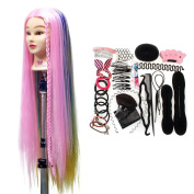 Neverland Beauty 80cm Super Long Cosmetology Mannequin Head 100% Synthetic Hair Rainbow Colour,Braiding Hair Styling Mannequin Head with Table Clamp Holder + Hair Styling Braid Set