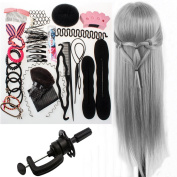 Neverland Beauty 70cm 100% Synthetic Hair Cosmetology Mannequin Doll Head Training Hair Styling Manikin Head Grey with Clamp + Hair Styling Braid Set