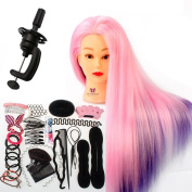 Neverland Beauty Colourful Cosmetology Mannequin Doll Head 100% Synthetic Training Hair Styling Manikin Head + Hair Styling Braid Set