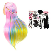 Neverland Beauty 70cm Cosmetology Mannequin Head 100% Synthetic Hair Rainbow Colour, Practise Training Hair Styling Mannequin Head with Table Clamp Holder + Hair Styling Braid Set