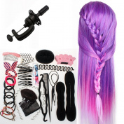Neverland Beauty 70cm Dreamy Purple Colourful Long Hair Training Head Model Hairdressing Clamp Stand Dummy Practise Mannequin + Table Clamp + Hair Styling Braid Set