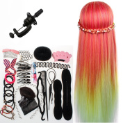 Neverland Beauty 70cm Goldfish Red Colourful Hair Training Head Model Hairdressing Clamp Stand Dummy Practise Mannequin with Table Clamp + Hair Styling Braid Set