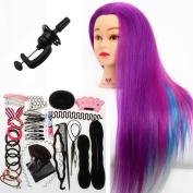 Neverland Beauty 60cm Synthetic Hair Rainbow Colour Cosmetology Mannequin Manikin Training Head Model + Hair Styling Braid Set