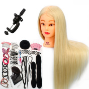 Neverland Beauty 70cm 30% Real Hair Hairdressing Cosmetology Training Head Blonde Mannequin Head Hairdresser Training Head w/Clamp + Hair Styling Braid Set