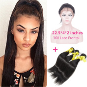 """New Style 60cm x 10cm x 2"""" 360 Lace Frontal Closure Natural Hairline with Baby Hair Add 3pcs Brazilian straight Virgin Hair Bundles"""