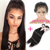 """New Style 60cm x 10cm x 2"""" 360 Lace Frontal Closure Natural Hairline with Baby Hair Add 2pcs Peruvian straight Virgin Hair Bundles"""