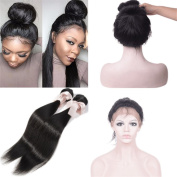 """New Style 60cm x 10cm x 2"""" 360 Lace Frontal Closure Natural Hairline with Baby Hair Add 2pcs Brazilian straight Virgin Hair Bundles"""