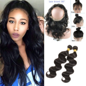 """New Style 60cm x 10cm x 2"""" 360 Lace Frontal Closure Natural Hairline with Baby Hair Add 2pcs Brazilian Body Wave Virgin Hair Bundles"""