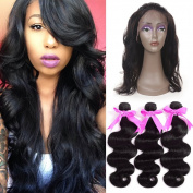 ANNMODE hair Pre Plucked (22.542) 360 Lace Frontal Band with 3 Bundles Body Wave Brazilian Virgin Hair 4Pcs Lot Human Hair Wefts with Full Lace Frontal Natural Hairline & Baby Hair 14 16 18+36cm