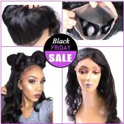 AliBarbara 360 Lace Band Frontal with Bnudles Brazilian Virgin Hair Straight 3 Bundles with 360 Frontal Baby Hair Around with Natural Hairline, Natural Colour