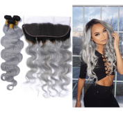 Tony Beauty Hair Dark Root Body Wave Hair Bundles With Lace Frontal Closure 13x 4 Two Tone Ombre Hair Weft With Ear To Ear Full Lace Frontal