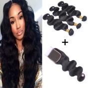 Kapelli Hair 7A Unprocessed Brazilian Virgin Hair Bundles 4pcs/lot with 4x 4 Lace Closure Free Part Virgin Remy Cheap Hair Weave Weft Extensions Natural Colour